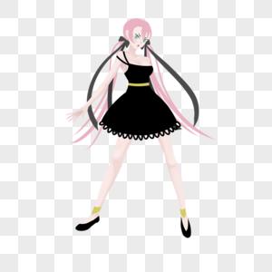 粉色低马尾黑色吊带连衣短裙妹子图片