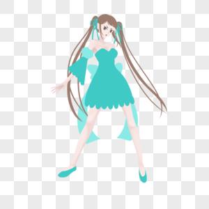 棕色双马尾蓝绿连衣裙长袖宽袖妹子图片