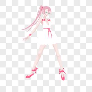 粉色单马尾粉白开领短裙妹子图片