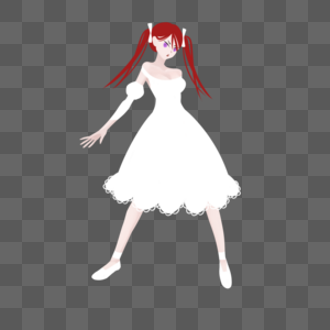 红色双马尾白色长裙妹子新娘装图片