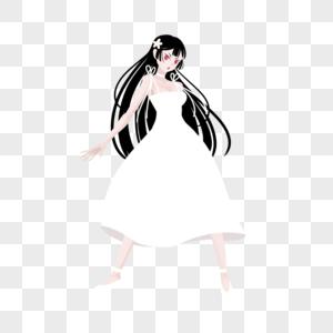 黑长直姬发白色长裙新娘服妹子图片