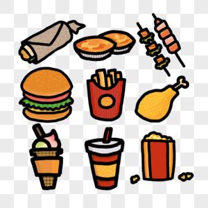薯条汉堡快餐垃圾食品零食图片