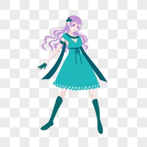 浅紫色卷发绿色蕾丝裙妹子图片
