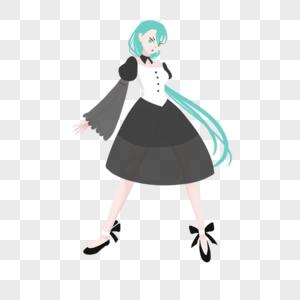 蓝绿低马尾黑白宽袖纱质裙妹子图片