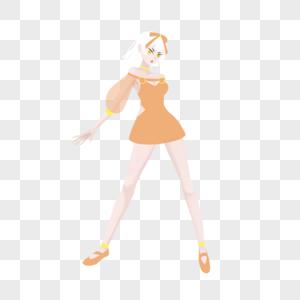白色短发橙色橘色纱质短裙女孩图片