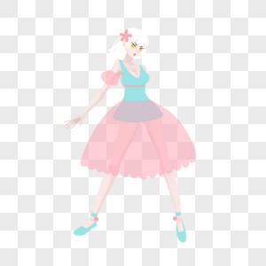 白色短发绿粉色蓬蓬裙女孩纱裙图片