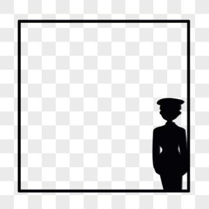 军人人物剪影边框图片