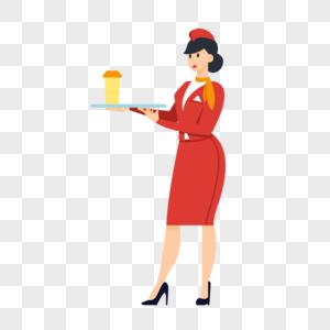 端着饮料的空姐图片