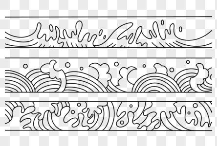 手绘古典波纹浪花素材图片