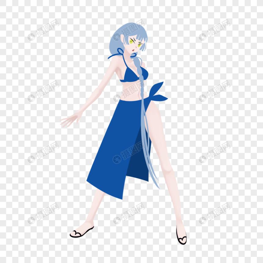蓝色长发蓝色游泳衣美女夏日游泳图片