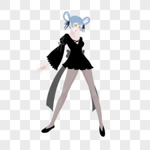 蓝色双环发型黑色洛丽塔风短裙黑丝女孩图片