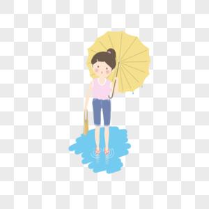 夏日雨天女孩图片