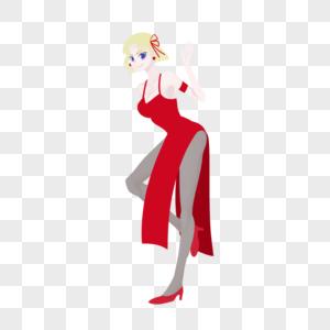 黄色短发性感红色高开叉晚礼裙成熟美女图片