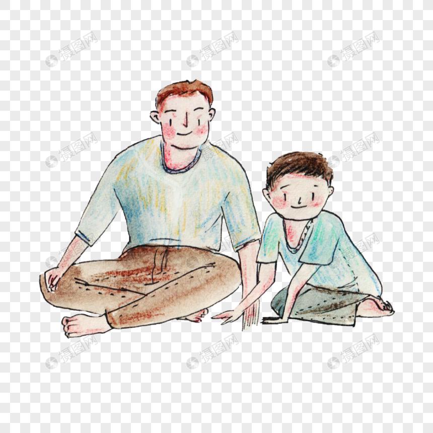 手绘坐在地上的父子图片