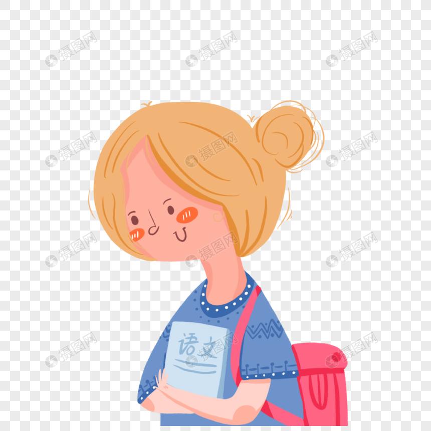 卡通可爱女孩简约人物读书书包元素图片