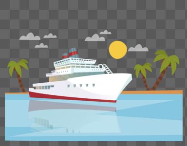 轮船旅行矢量元素图片