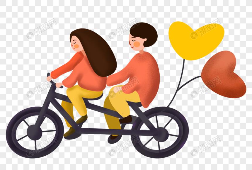骑车郊游的情侣图片