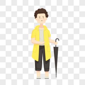 卡通人物手绘拿雨伞的男孩图片