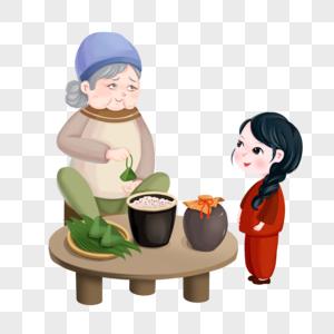 端午节素材奶奶和女孩包粽子图片