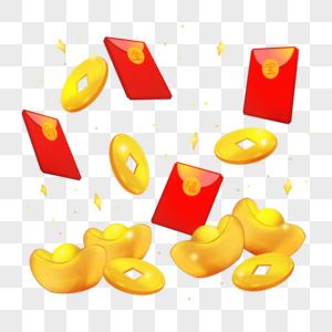 掉落的金元宝金币钞票图片