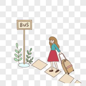毕业季拉着行李去大巴车站的女孩手绘装饰图片