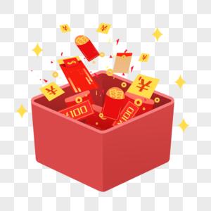 红包礼盒钞票素材图片