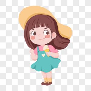 夏天拿着冰激凌带着草帽的可爱卡通女孩图片