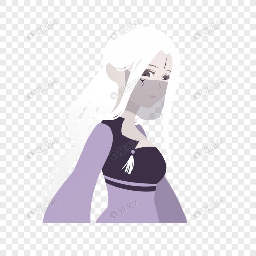 黑色透明面纱白发汉服女子魔教魔女形象图片