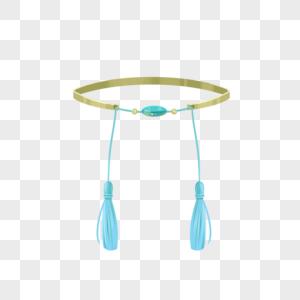 浅蓝色流苏颈链透明蓝色晶体图片