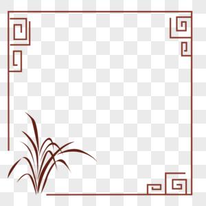 窗框兰花剪影边框花边图片