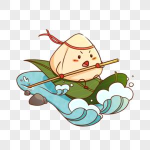 创意卡通端午节主题粽子赛龙舟图片
