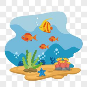 世界海洋日海底世界矢量素材图片