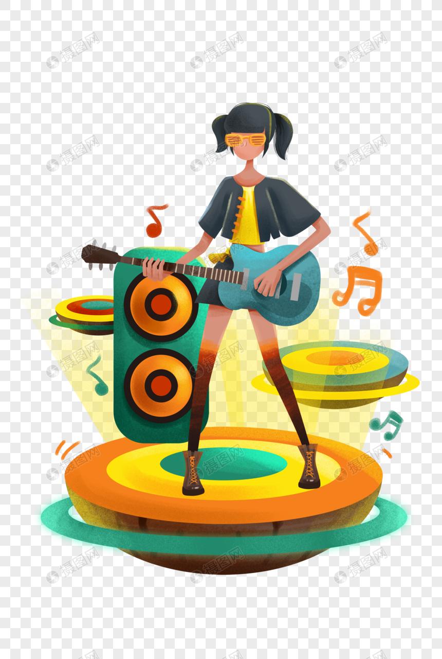 音乐少女插画图片