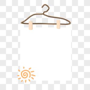 夏天衣架夹子手绘太阳简约边框图片