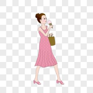 走路吃雪糕的女孩图片