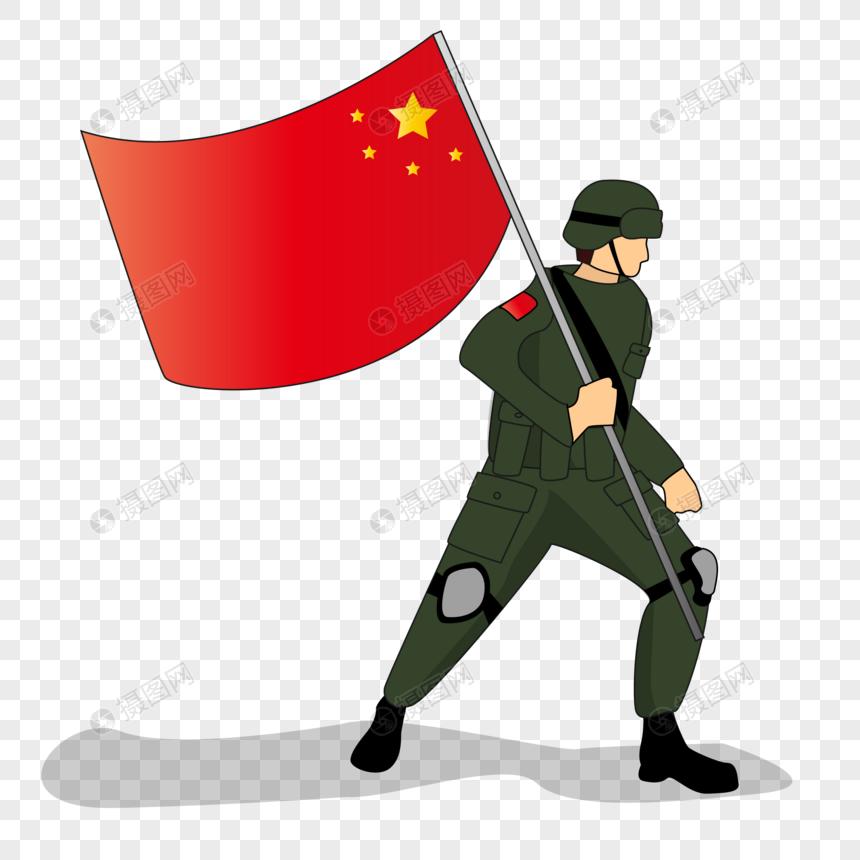 扁平化陆军简约人物图片