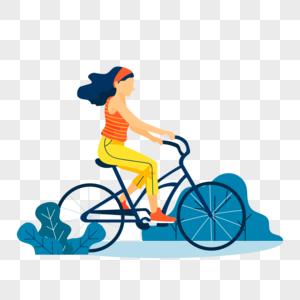 骑着自行车的女孩图片