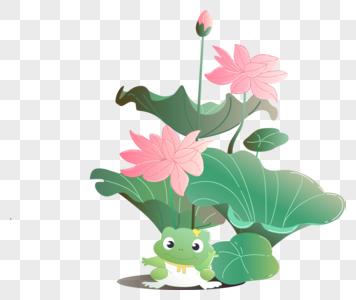 萌系青蛙伴荷花图片