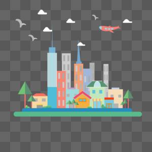 城市生活建筑扁平插画图片