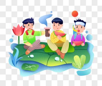 夏日河边玩耍吃西瓜的小朋友图片