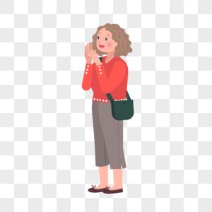 卷发红衬衫西裤斜挎包女孩矢量人物素材图片