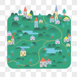 山村自然风景扁平插画图片