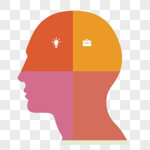 ppt创意人头形分类展示框图片