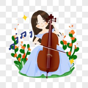 卡通女孩大提琴演奏图片