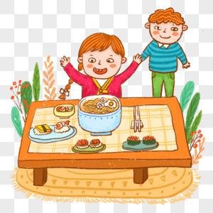 吃饭吃日料美食开心图片