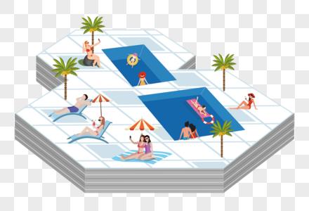 夏日度假创意游泳池图片