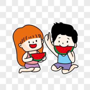 卡通可爱吃西瓜的小孩图片