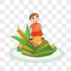 站在粽子上的男孩图片