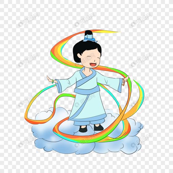 站在云上跳舞的男孩图片
