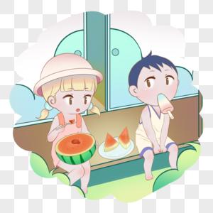 坐着吃瓜的孩子图片